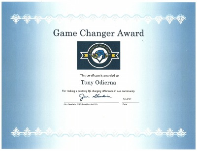 Game Changer Community Service Award  (Click on picture to enlarge it.)